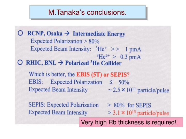M.Tanaka's conclusions.