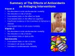 summary of the effects of antioxidants as antiaging interventions