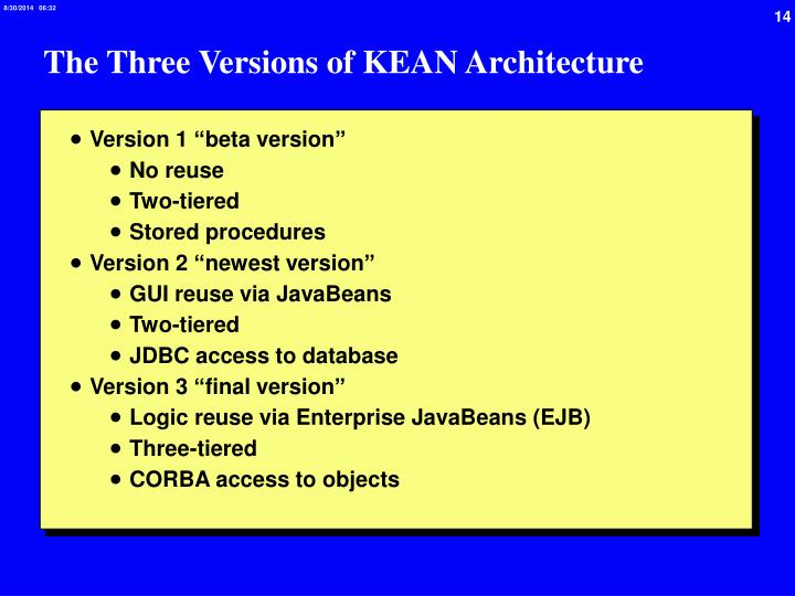 The Three Versions of KEAN Architecture