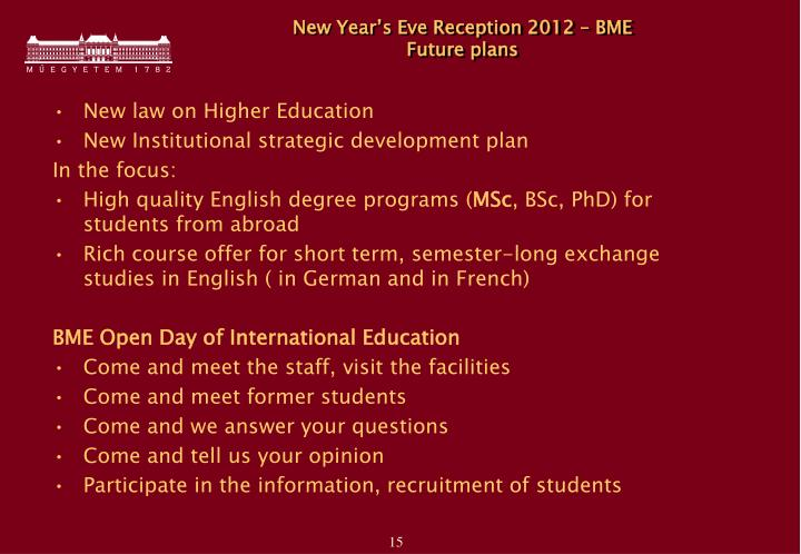 New Year's Eve Reception 2012 – BME