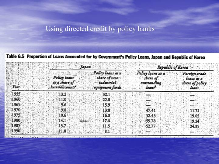 Using directed credit by policy banks