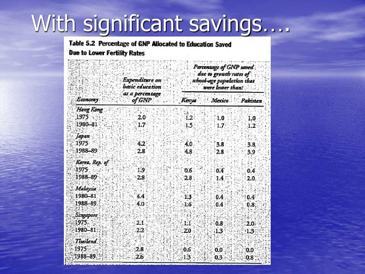 With significant savings