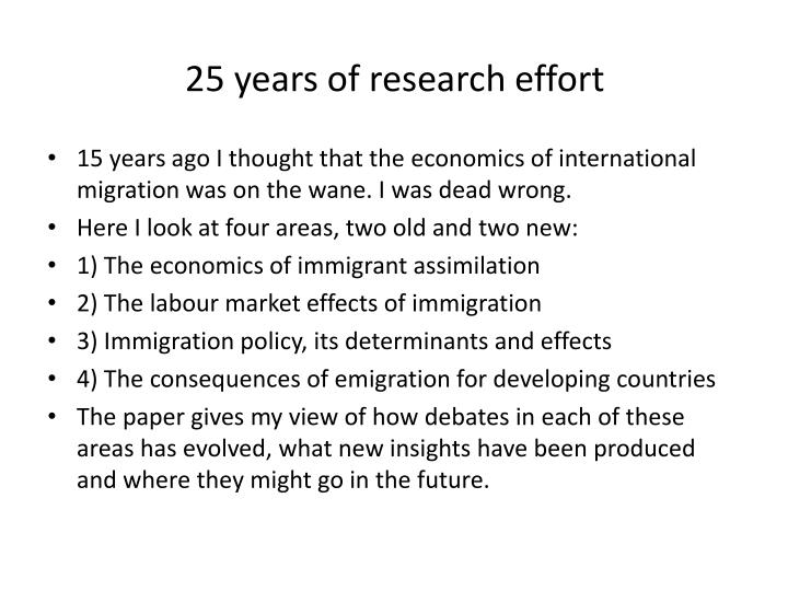 25 years of research effort