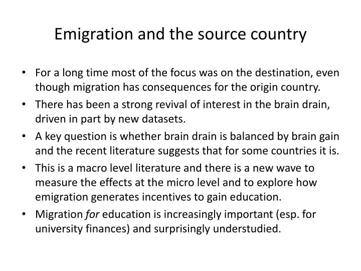 Emigration and the source country