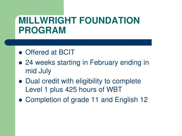 MILLWRIGHT FOUNDATION PROGRAM