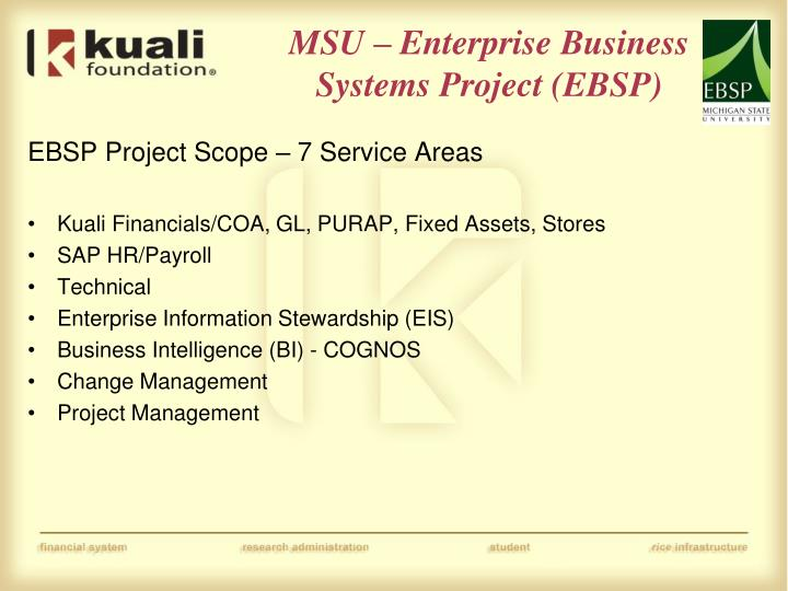 MSU – Enterprise Business Systems Project (EBSP)