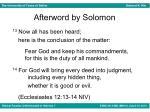 afterword by solomon