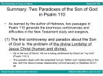 summary two paradoxes of the son of god in psalm 110