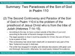 summary two paradoxes of the son of god in psalm 1101