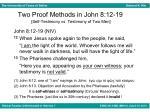 two proof methods in john 8 12 19 self testimony vs testimony of two men