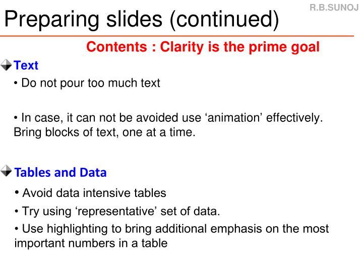 Preparing slides (continued)