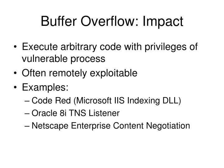 Buffer Overflow: Impact