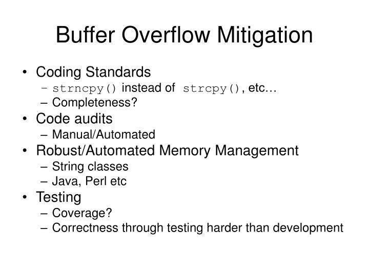 Buffer Overflow Mitigation