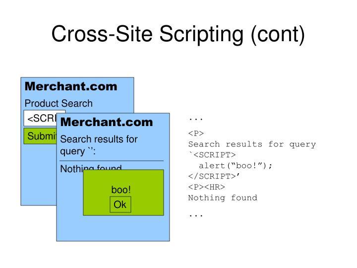 Cross-Site Scripting (cont)