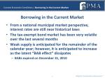 current economic conditions borrowing in the current market