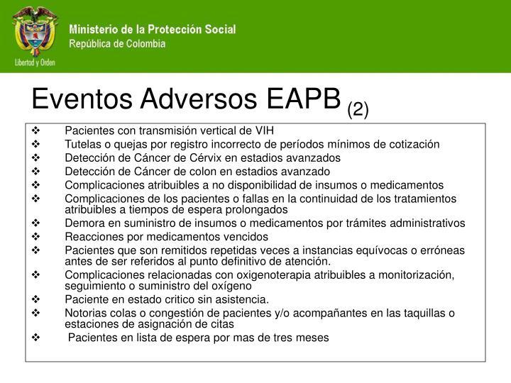 Eventos Adversos EAPB