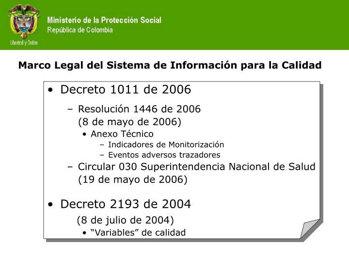 Marco legal del sistema de informaci n para la calidad