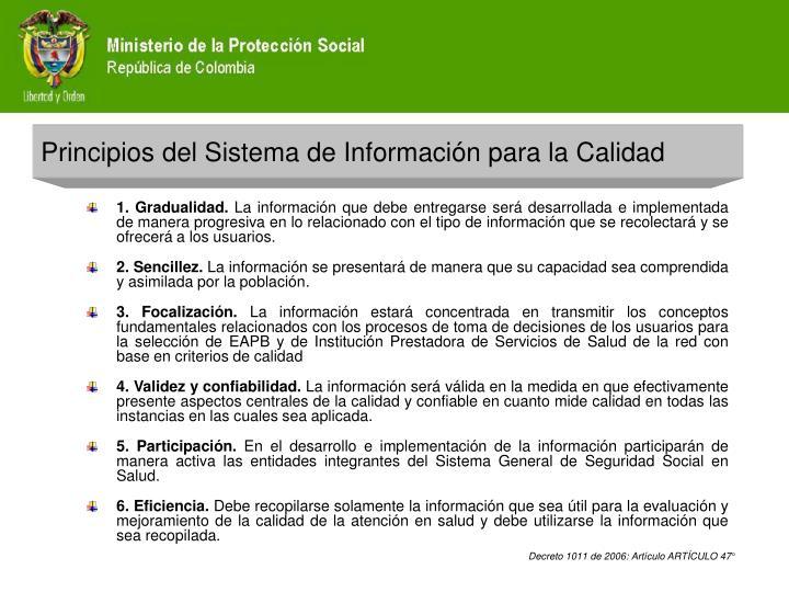 Principios del Sistema de Información para la Calidad