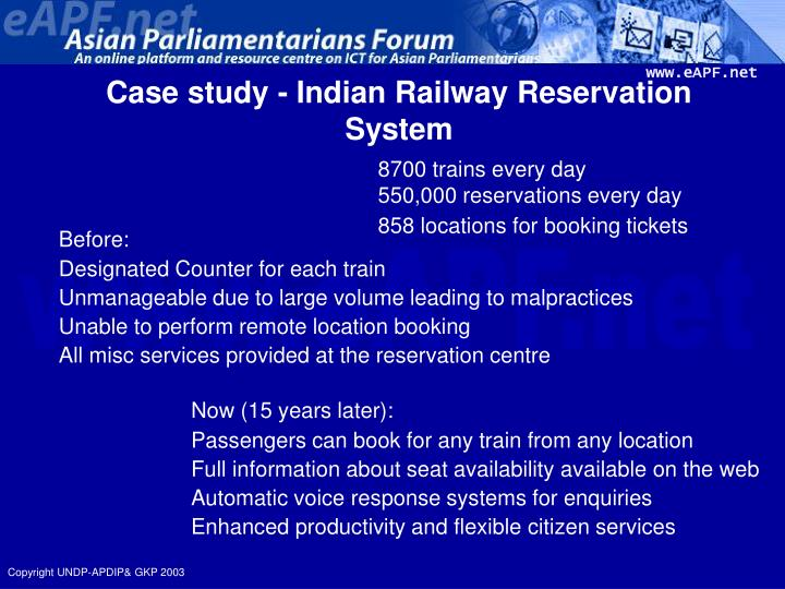 Case study - Indian Railway Reservation System