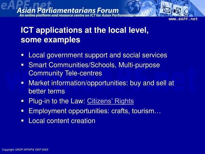 ICT applications at the local level,