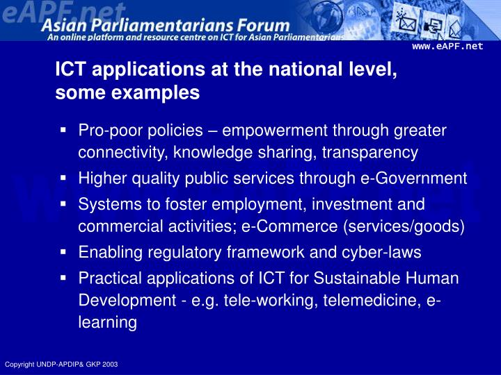 ICT applications at the national level,