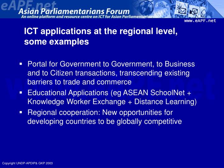 ICT applications at the regional level,