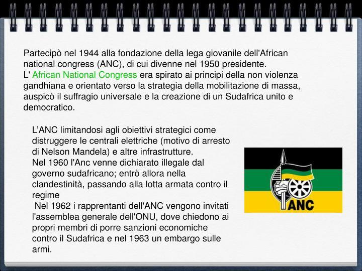 Partecipò nel 1944 alla fondazione della lega giovanile dell'African national congress (ANC), di cui divenne nel 1950 presidente.