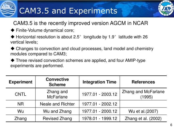 CAM3.5 and Experiments