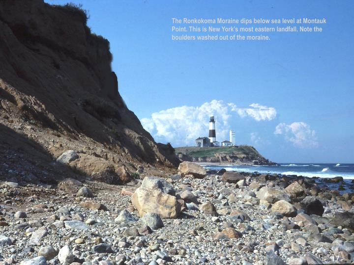 The Ronkokoma Moraine dips below sea level at Montauk Point. This is New York's most eastern landfall. Note the boulders washed out of the moraine.