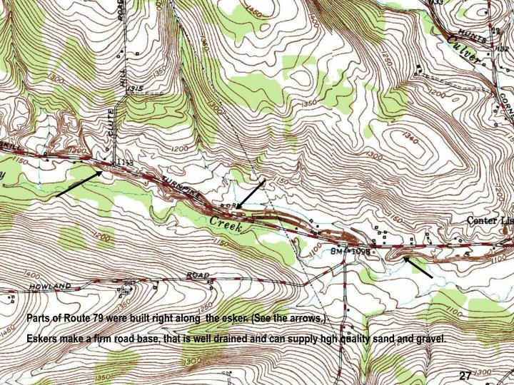 Parts of Route 79 were built right along  the esker. (See the arrows.)