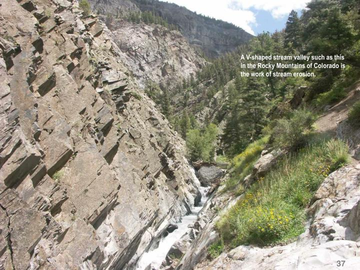 A V-shaped stream valley such as this in the Rocky Mountains of Colorado is the work of stream erosion.