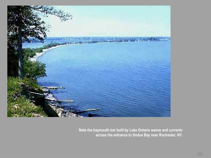 Note the baymouth bar built by Lake Ontario waves and currents across the entrance to Sodus Bay near Rochester, NY.