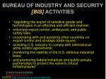 bureau of industry and security bis activities