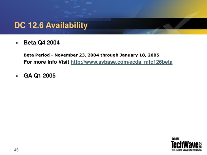 DC 12.6 Availability