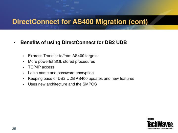 DirectConnect for AS400 Migration (cont)
