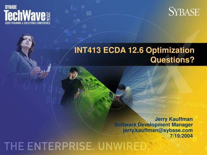 INT413 ECDA 12.6 Optimization