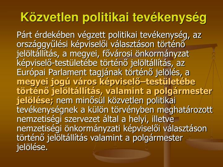 Közvetlen politikai tevékenység