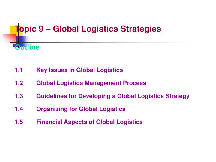 PPT - Topic 9 – Global Logistics Strategies Outline 1 1 Key Issues