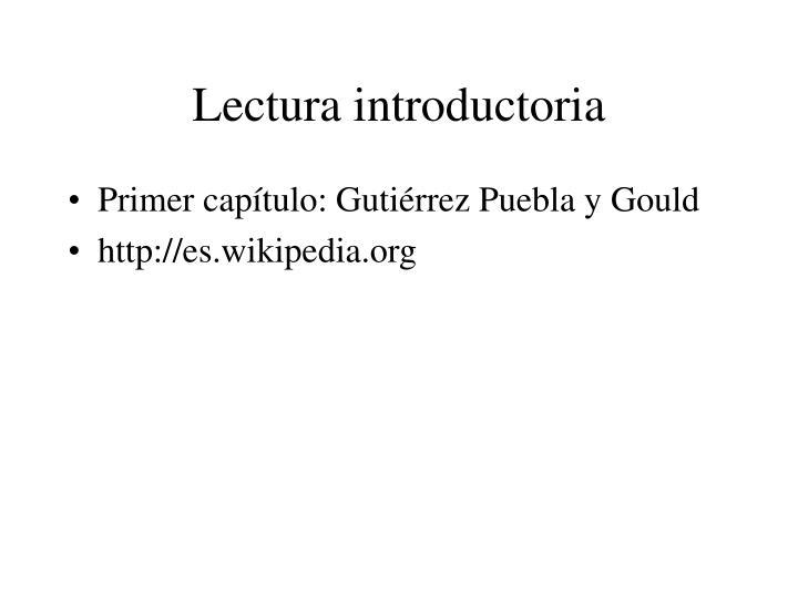 Lectura introductoria