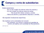 compra y venta de subsidiarias