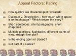 appeal factors pacing