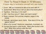 how to read a book in 10 minutes a quick way to familiarize yourself with new books