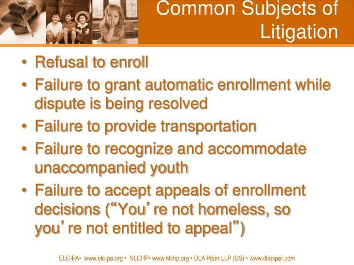 Common subjects of litigation