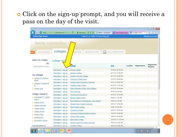 Click on the sign-up prompt, and you will receive a pass on the day of the visit.