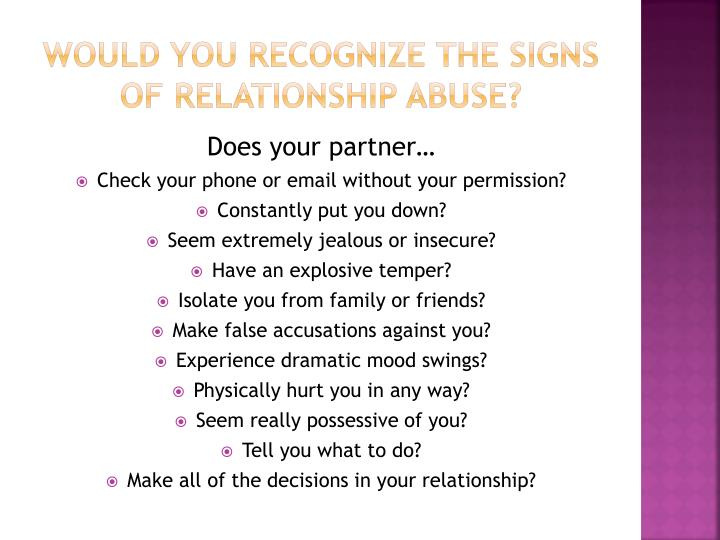 Would you recognize the signs of relationship abuse?