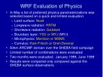 wrf evaluation of physics