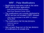 wrf polar modifications