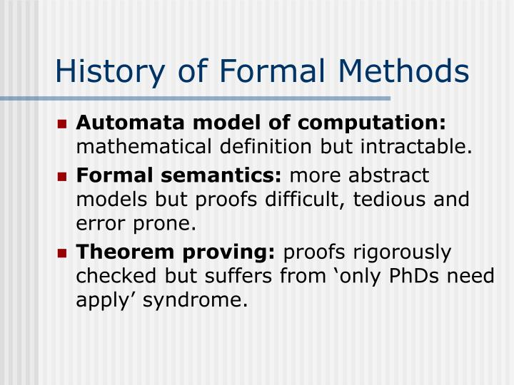 History of formal methods