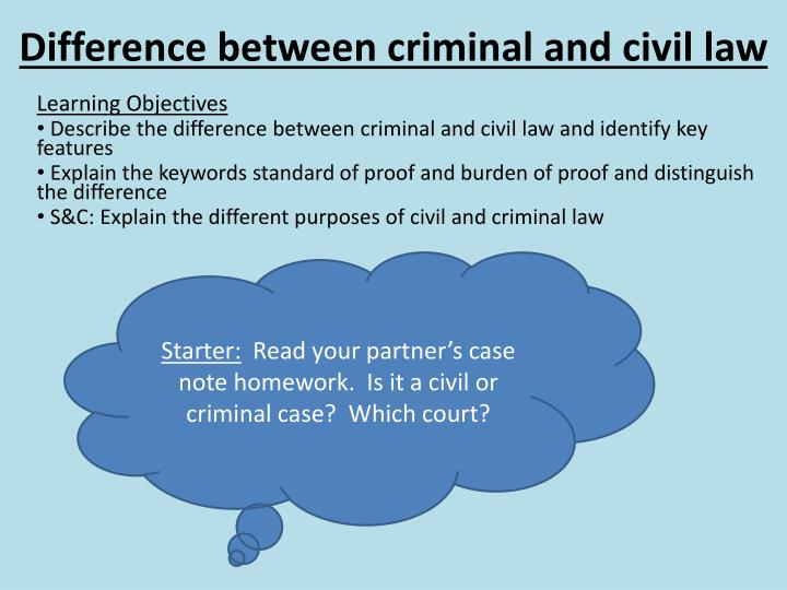 Difference between criminal and civil cases