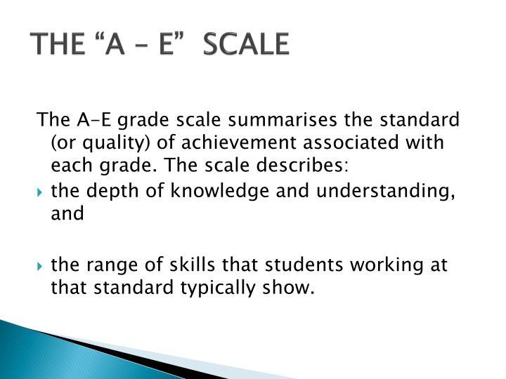 """THE """"A – E""""  SCALE"""